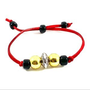 Jewelry - Red suede cord adjustable bracelet (L)